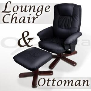 PU Leather Lounge Recliner Chair Ottoman Office Home BK