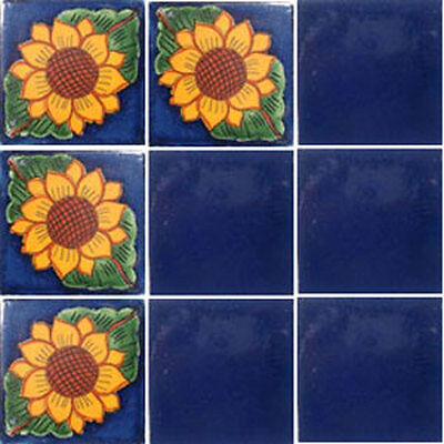 Set 100) With Nine Mexican Tiles Ceramic Clay Handcrafted Mexico