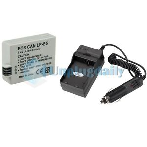FOR CANON EOS Rebel T1i XSi XS LP-E5 BATTERY+CHARGER