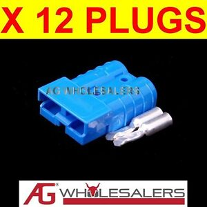 12-x-BLUE-ANDERSON-STYLE-50-AMP-PLUG-CONNECTORS-JOINER-12V-DUAL-BATTERY