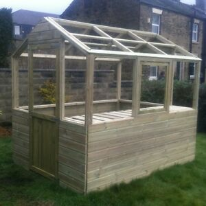 10x6 wooden greenhouse heavy duty tanalised FRAME ONLY free staging & opener