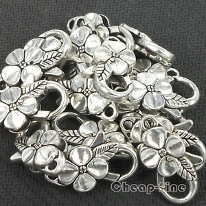 lots 15pcs Tibetan Silver Flower shaped Big Lobster Clasps Charms