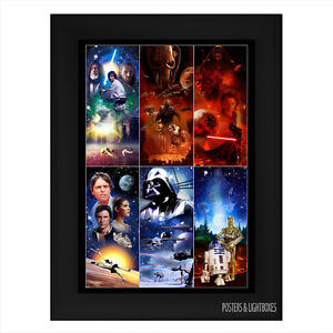 STAR WARS COMPILATION Framed Film Movie Poster A4 Black Frame
