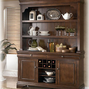 Ashley Belcourt Dark Brown Wood Dining Room Buffet Amp Hutch Free Shipping