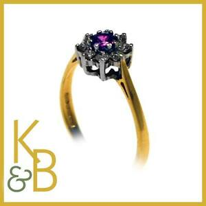 40-Off-Ladies-18ct-Gold-0-54ct-9-Stone-Ruby-Diamond-Dress-Ring-SIZE-L-90405