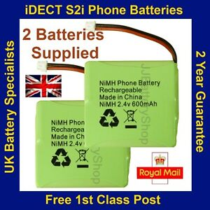 Pack of 2 x Brand New Replacement iDECT S2i Phone Batteries 2.4V 600mAh NiMH UK