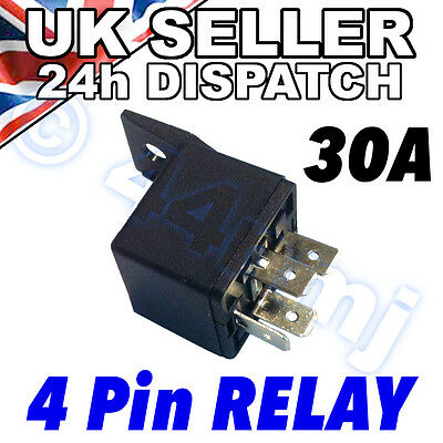4 Pin 12v 30A AUTOMOTIVE RELAY For Aux Lights Horns etc Car Boat Van Motorbike