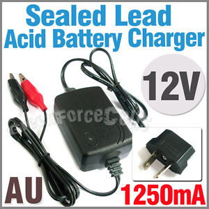 12V Volt 1250mA Sealed Lead Acid Rechargeable Battery Charger SLA Computer AU