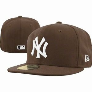 New-Era-5950-New-York-Yankees-NY-WHITE-on-BROWN-MLB-Baseball-Cap-Hat