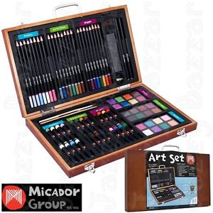 Micador Art Darwing + Painting Set Water colour Coloured Pencils Oil Pastels NEW