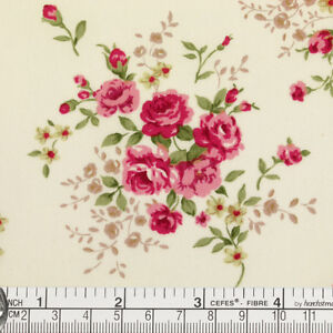FQ - PINK ROSE FLOWER BOUQUET on CREAM RETRO 100% COTTON DRESS QUILT FABRIC K128