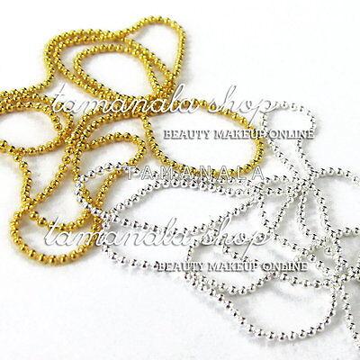 2 pcs Gold Silver Bead Line Chain Acrylic Gel Nail Art False Tips Decoration Set