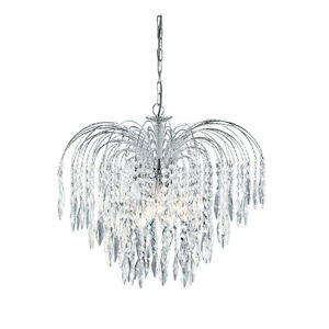 Searchlight Waterfall Chrome & Crystal Drop Marie Therese Chandelier Lights