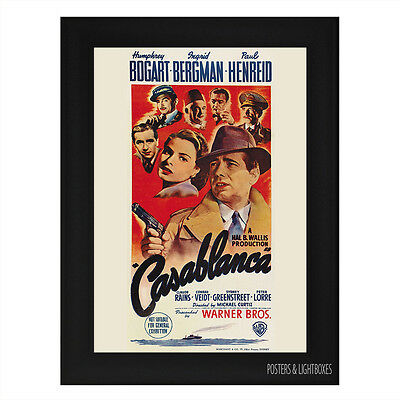 CASABLANCA Framed Film Movie Poster A4 Black Frame