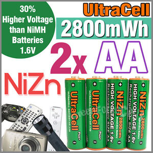 2-2800mWh-AA-NiZn-1-6V-Volt-Rechargeable-Battery-2A-AM3-UM3-KR6-Ultracell-Green
