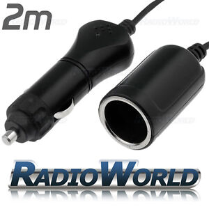 2M 12v DC Power Extension Lead Cable Car Cigar Cigarette Lighter Adaptor New