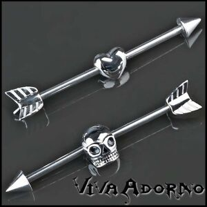 1-6x33mm-Oreja-Inlay-Industrial-Piercing-Amor-Flecha-Heart-Calavera-Barbell-Z172