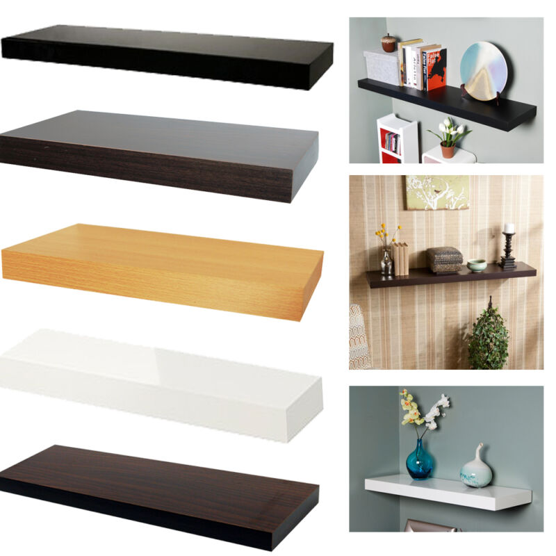 welland chicago floating wall shelves wood shelf multi color 10 24 36 48 60 ebay. Black Bedroom Furniture Sets. Home Design Ideas