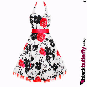 WHITE FLORAL 50s 60s ROCKABILLY VTG SWING PROM DRESS SIZE 8-24