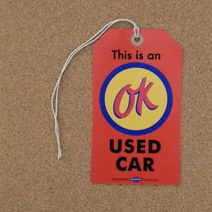 Chevrolet-Dealer-OK-Used-Car-Tag-Reproduction-Corvette-Impala-Chevelle-Camaro