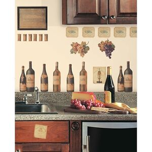 New WINE TASTING WALL DECALS Grapes & Bottles Stickers Kitchen Decor Decorations