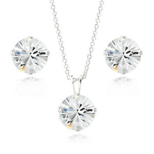 925 Silver Crystal Swarovski Elements 8mm Necklace & Stud Earrings Set