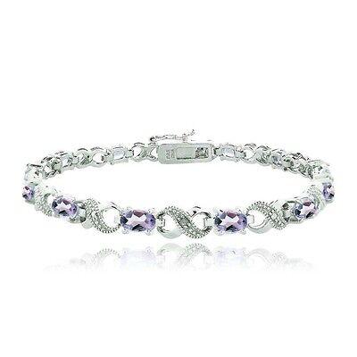 5.5 CARAT Amethyst & Diamond Accent Infinity Bracelet in Brass