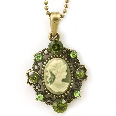 Olive Green Cameo Pendant Necklace Charm Antique Vintage Classic Design Charm M8