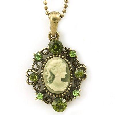 Olive Green Cameo Pendant Necklace Charm Antique Vintage Classic Design Charm M8