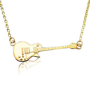 Solid Gold Miniature Gibson Les Paul Electric Guitar Pendant & Necklace Chain 9k