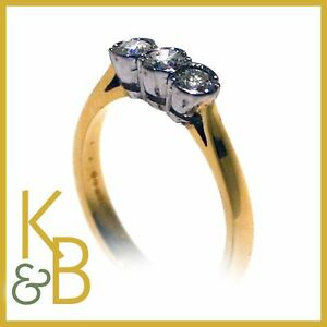 40-OFF-NEW-Ladies-18ct-Gold-0-40ct-3-Stone-Diamond-Dress-Ring-SIZE-L-Ref-9093