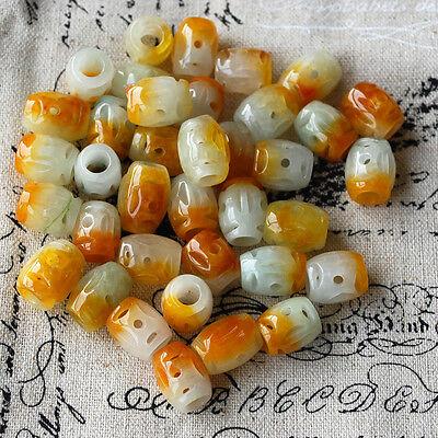 6 Semi Precious Gemstone Carved Yellow Orange Jade Barrel Beads 13mm