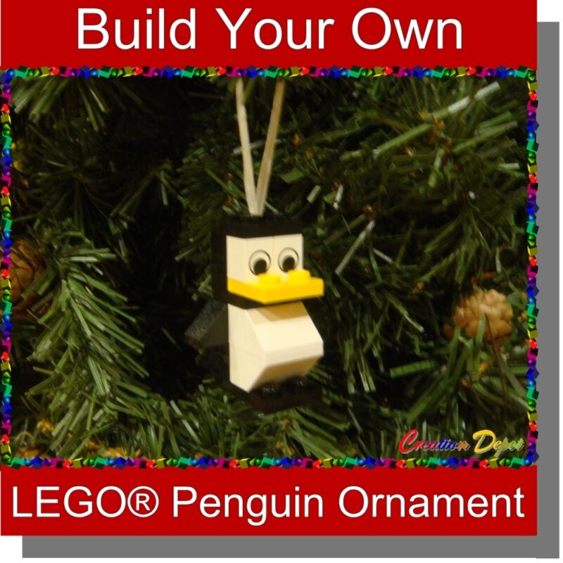 Build-Your-Own LEGO® Cool Penguin Christmas Holiday Tree Stocking Ornament