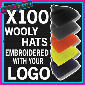 X100-WOOLY-HATS-PERSONALISED-WITH-YOUR-OWN-LOGO-TEXT-BUSINESS-WORKWEAR