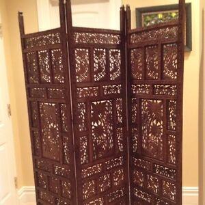 Details about antique hand carved teak wood room ider screen