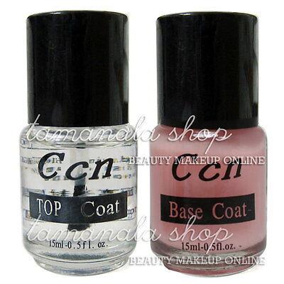 2 pcs Base Coat Top Coat Acrylic Nail Art False Tip Polish 15ml Salon New