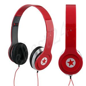 Red Stereo Headphone Earphone Headset for PC PSP MP3 MP4 Player