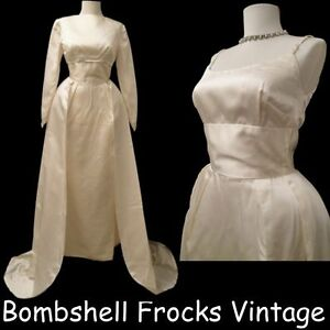 Vintage-50s-60s-Satin-Wedding-Dress-Gown-w-Cropped-Jacket-Removable-Train-S
