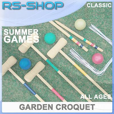 4 Player Complete Outdoor Garden Croquet Set