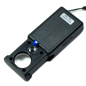 Mini Illuminated 30X - 60X Jewelers Loupe / Magnifier with LED & UV Lights