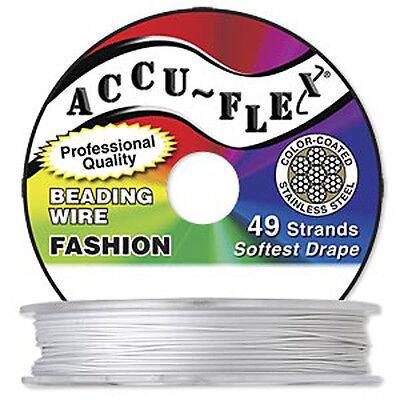 30' .014 Pearl Silver Accuflex 49 Str Beading Wire