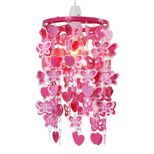 Modern-Girls-Pink-Red-Hearts-Butterflies-Ceiling-Light-Pendant-Lampshade-NEW