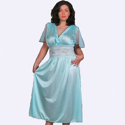 Plus Size Lingerie Size 1x Aqua Long Gown V Front With Lace 8027x
