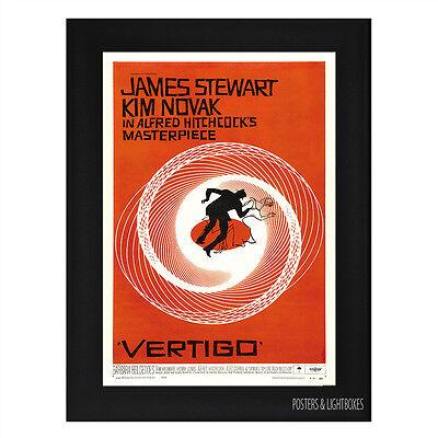 VERTIGO JAMES STEWART HITCHCOCK CLASSIC Framed Film Movie Poster A4 Black Frame