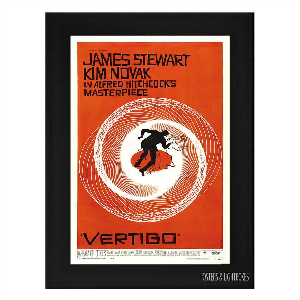 VERTIGO JAMES STEWART HITCHCOCK CLASSIC Framed Film Movie Poster A4 Black Frame