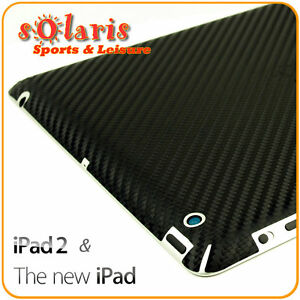 Black Carbon Fibre Vinyl Skin Sticker Back Protector for the New iPad 3 & iPad 2