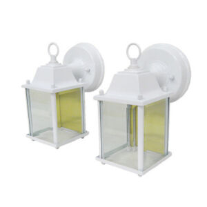 Set-Of-2-White-Cast-Aluminum-Exterior-Wall-Light-Fixtures-NIB