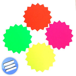 Day Glo Fluorescent Star Display Cards in Different Sizes & Colours
