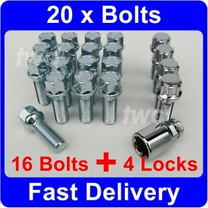 20-x-ALLOY-WHEEL-BOLTS-LOCKS-FOR-VW-TRANSPORTER-T4-T5-M14x1-5-LUG-NUTS-W9