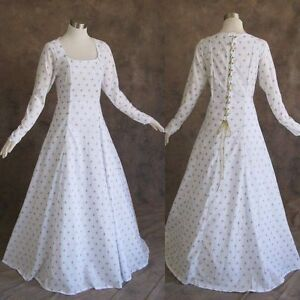 Medieval-Renaissance-Gown-White-Gold-Dress-Costume-LOTR-Wedding-Small